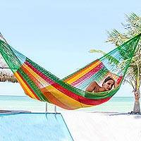 Cotton hammock, 'Colima' (double) - Green and Yellow Cotton Maya Hammock with Red Trim