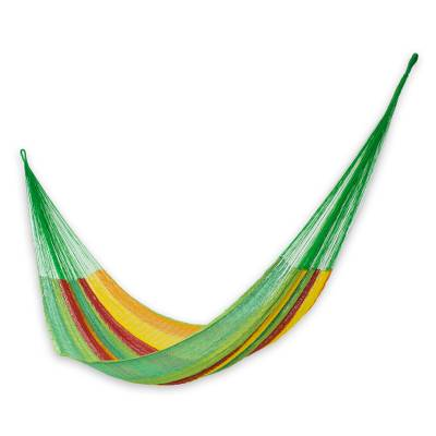 Green and Yellow Cotton Maya Hammock with Red Trim