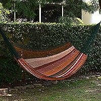 Cotton hammock, 'Rebozo' (double) - Brown and Green Cotton Maya Hammock with Red Trim