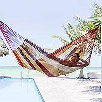 Cotton hammock, 'Loreto' (double) - Mexican Multicolor Cotton Maya Hammock