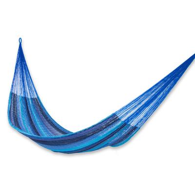 Handmade Blue Cotton Maya Hammock from Mexico