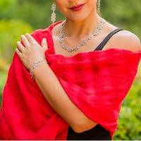 Cotton rebozo shawl, 'Oaxaca My Love' - Natural Red Mexican Rebozo Shawl Hand Woven of Cotton