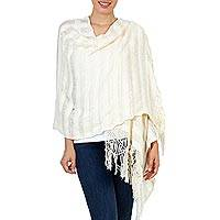 Cotton rebozo shawl, 'Oaxaca Harmony' - Hand Woven Mexican Rebozo Shawl in Natural Cotton Color