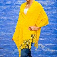 Cotton rebozo shawl, 'Oaxaca Sunlight' - Bright Yellow Fair Trade Mexican Rebozo Woven by Hand
