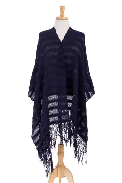Cotton rebozo shawl, 'Oaxaca Serenity' - Fair Trade Indigo Blue Mexican Rebozo Shawl Woven by Hand