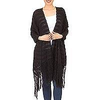 Cotton rebozo shawl, 'Oaxaca Elegance' - Black Traditional Mexican Rebozo Shawl Woven by Hand