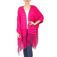 Cotton rebozo shawl, 'Oaxaca Happiness' - Natural Mexican Pink Rebozo Shawl Hand Woven of Cotton