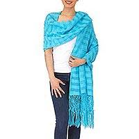 Cotton rebozo shawl, 'Oaxaca Sky' - Hand Woven Mexican Rebozo Shawl in Natural Cotton Color