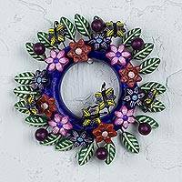Ceramic wall wreath, 'Monarch' - Ceramic Wall Wreath with Butterflies and Flowers