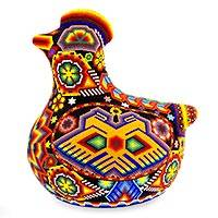 Beadwork figurine, 'Happy Huichol Hen' - Handmade Huichol Folk Art Beadwork Bird Sculpture