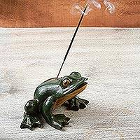 Ceramic incense holder, 'Jumping Frog' - Mexican Burnished Clay Frog-Shaped Incense Holder