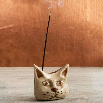 Ceramic incense holder, 'Owl Cat' - Animal Theme Burnished Clay Incense Holder from Mexico