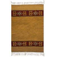 Zapotec wool rug, 'Four Suns' (4x6.5) - Brown and Yellow Handwoven Zapotec Area Rug (4x6.5)