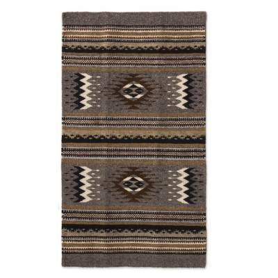 Zapotec wool rug, 'Grey Diamond' (2x3.5) - Handwoven 2 by 3.5 Foot Zapotec Rug