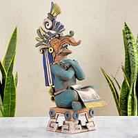 Ceramic sculpture, 'Lord Chaac' - Maya Lord of Rain Ceramic Replica Sculpture