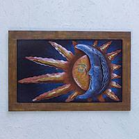 Steel wall sculpture, 'Day and Night Fusion' - Steel Wall Sculpture Mexican Wall Art