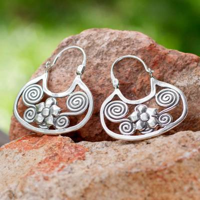 Sterling silver flower earrings, 'Floral Mazahua' - Artisan Crafted Sterling Silver Hoop Earrings from Mexico