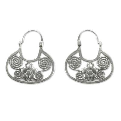 Artisan Crafted Sterling Silver Hoop Earrings from Mexico