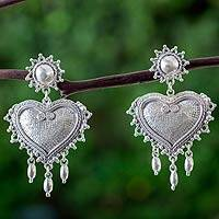 Sterling silver heart earrings, 'Love Waterfall' - Sterling Silver Taxco Heart Chandelier Earrings