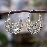Sterling silver hoop earrings, 'Kiss of Peace' - Doves Kiss on Sterling Silver Hoop Earrings