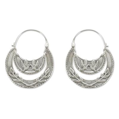 Doves Kiss on Sterling Silver Hoop Earrings