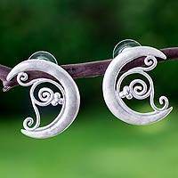 Sterling silver drop earrings, 'Fruit Crescents' - Handmade Fair Trade Sterling Silver Moon Earrings