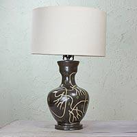 Ceramic lamp, 'Leaf Dancers' - Leaf Theme Burnished Clay Ceramic Table Lamp