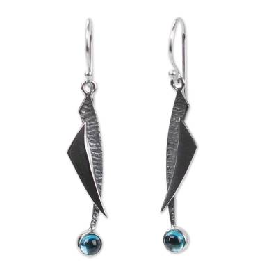 Blue Topaz and Silver 950 Earrings Taxco Jewelry