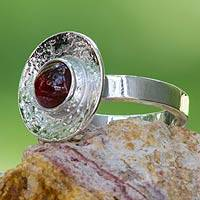 Garnet cocktail ring, 'Center of Light' - Garnet on Silver 950 Cocktail Ring Fair Trade Jewelry
