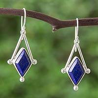 Lapis lazuli dangle earrings, 'Spark of Blue' - Lapis Lazuli and 950 Silver Artisan Earrings
