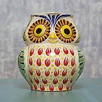 Majolica ceramic pitcher, 'Owl Hospitality' - Artisan Crafted Majolica Ceramic Bird Pitcher