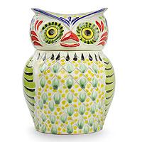 Majolica ceramic cookie jar, 'Owl Treats' (Mexico)
