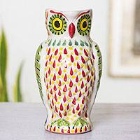Majolica ceramic pitcher, 'Happy Little Owl' - Artisan Crafted Majolica Owl Ceramic Pitcher