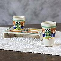 Majolica ceramic tequila glasses set, 'Acapulco' (pair) - Hand Crafted Majolica Ceramic Tequila Shot Glasses and Stand