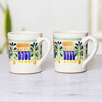 Majolica ceramic mugs, 'Acapulco' (pair) - Majolica Ceramic Mugs Artisan Crafted in Mexico (Pair)
