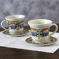Majolica ceramic cups and saucers, 'Acapulco' (pair) - Majolica Ceramic Cups and Saucers Artisan Crafted (Pair)