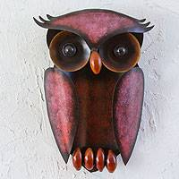 Iron wall sculpture, 'Protective Owl' - Hand Crafted Iron Bird Wall Sculpture from Mexico