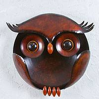 Iron wall sculpture, 'Perky Owl' - Mexican Handcrafted Bird Sculpture for the Wall