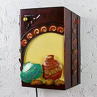 Iron wall lamp, 'Mexican Clay Pots' - Handcrafted Rustic Iron Sculpture Wall Lamp