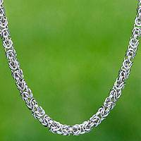Sterling silver chain necklace, 'Milano' - Chain Mail Link Necklace Byzantine Style Hand Made Jewelry