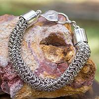 Sterling silver chain bracelet, 'Lyon' - Hand Crafted Sterling Silver Bracelet Chainmail Jewelry