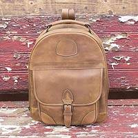 Leather backpack, 'Amber Brown' - Amber Brown Leather Backpack Handcrafted in Mexico