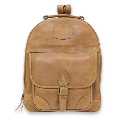 Amber Brown Leather Backpack Handcrafted in Mexico