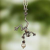 Cultured pearl and garnet pendant necklace, 'Whimsical Frog' - Sterling Silver with Pearl and Garnet Handcrafted Necklace