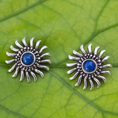 Lapis lazuli button earrings, 'Mexican Suns' - Sterling Silver and Lapis Lazuli Handcrafted Button Earrings