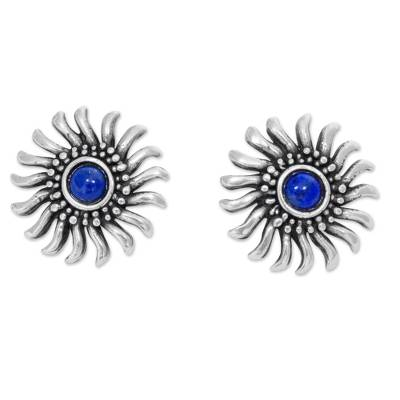 Sterling Silver and Lapis Lazuli Handcrafted Button Earrings
