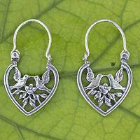 Sterling silver hoop earrings, 'Lovebirds' - Heart Shaped Silver Hoop Earrings with Birds and Flowers