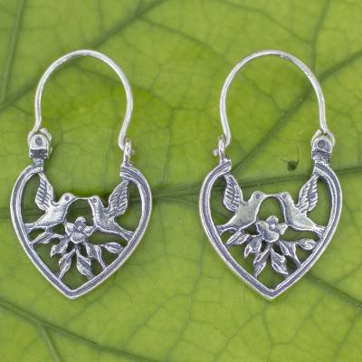 Sterling silver hoop earrings, 'Love on the Wing' - Heart Shaped Silver Hoop Earrings with Birds and Flowers