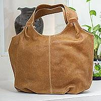 Leather hobo handbag, 'Urban Honey' - Brown Leather Hobo Handbag Fully Lined with 3 Inner Pockets