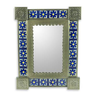 Hand Crafted Floral Tin Mirror with Talavera Tiles (Small)